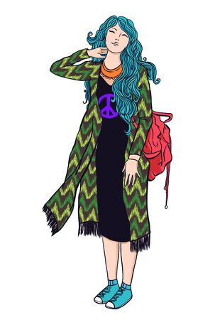 hippie girl with a backpack, dress with fringe. Illustration for print, clothing design, and web sites. Hippy or hippie philosophy and subculture movement heyday came in the late 1960s -1970s