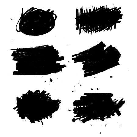 Set of black ink vector, grunge, dirty brush strokes. Abstract texture Illustration