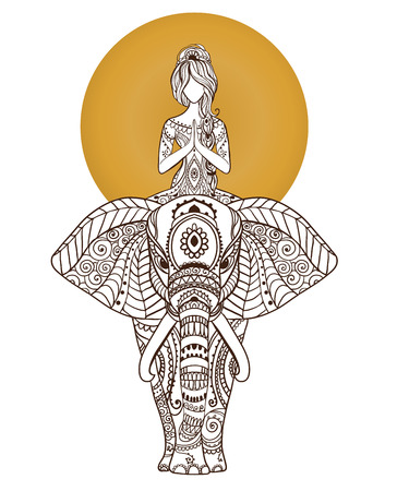 Yoga girl on elephant. Arabic and Indian style. Design template, banner Vector illustration. 矢量图像