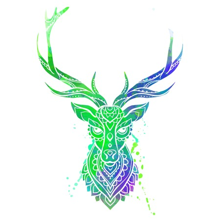 Ornament deer vector. Beautiful illustration for design, print clothing, stickers, tattoos, Adult Coloring book