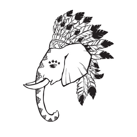 indian chief headdress: Elephant head with american indian chief headdress. Print for clothes, cards, picture banner for websites. Ethnic Indian ornaments.