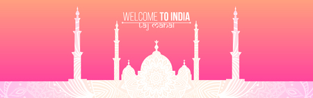 agra: Business Travel and Tourist template Taj Mahal  silhouette for site. India Vector illustration.