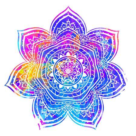 Watercolor invitation card with mandala. Geometric circle element made in vector. Mandala for decoration holiday cards, background and sites. Kaleidoscope, medallion, yoga, India, arabic Illustration