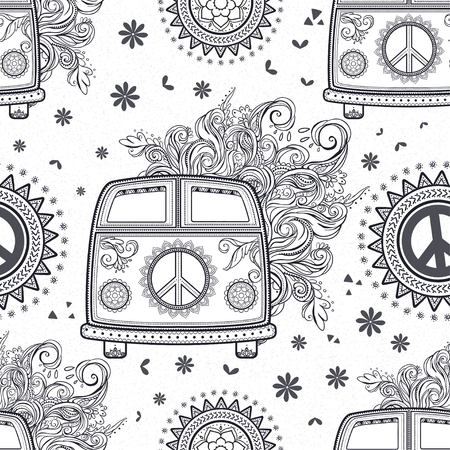 woodstock: Hippie vintage car a minivan. Ornamental background. Love and Music, woodstock with hand pattern fonts, textile doodle background and textures. Hippy color vector illustration. Retro 1960s, 70s style Illustration