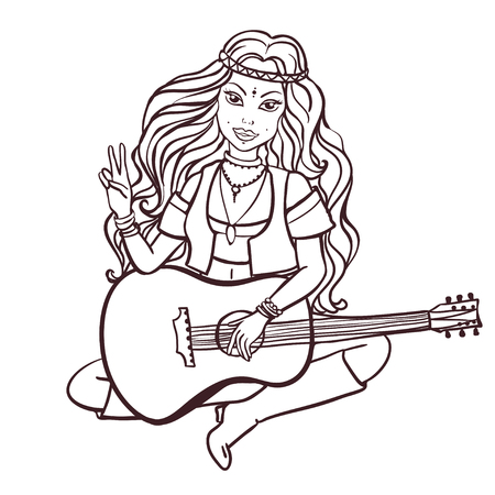 Hippie style playing the guitar, color vector illustration. Retro 1960s, 60s