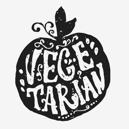 Vector illustration with apple silhouette and unique lettering. Healthy food, farm, fresh, vegan, natural, product, bio. Vegan typographic print. Hand draw. Eco poster. Illustration