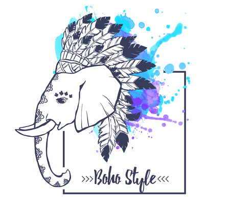indian chief headdress: Elephant head with american indian chief headdress feather. Print for clothes, cards, picture banner for websites. Ethnic Indian ornaments. Vector illustration watercolor Illustration