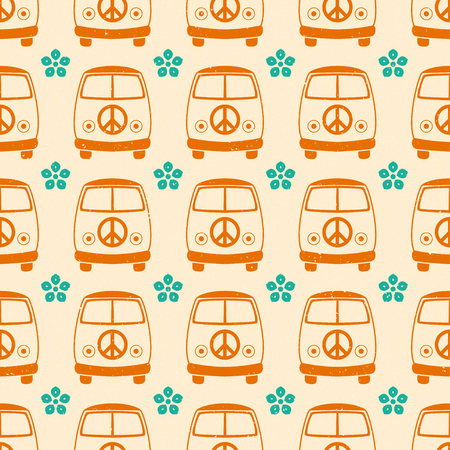volkswagen: Hippie vintage car a mini van. Ornamental background. Love and Music with textures. Hippy color vector illustration. Retro 1960s, 60s, 70s