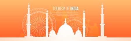 Business Travel and Tourist template Taj Mahal  silhouette for site. India Vector illustration.