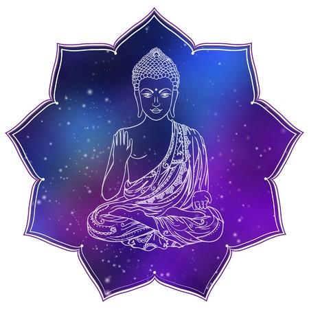 Zeichnung einer Buddha-Statue. Kunst Vektor-Illustration von Gautama Buddhismus Religion.
