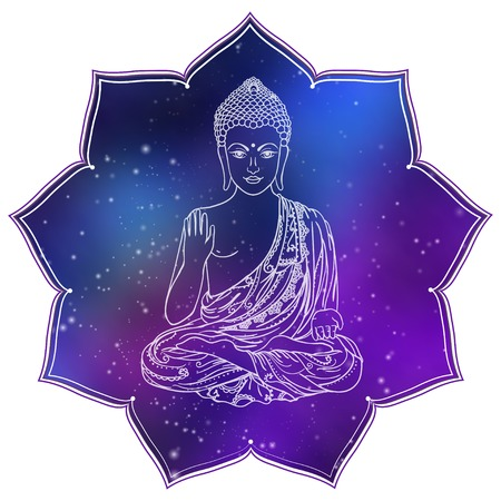 Drawing of a Buddha statue. Art vector illustration of Gautama Buddhism Religion. Illustration