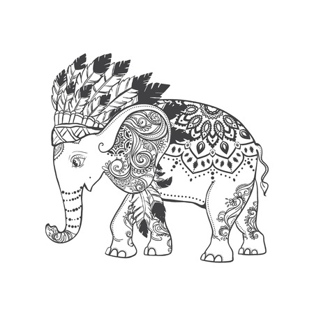 indian chief headdress: Elephant head with american indian chief headdress feather. Print for clothes, cards, picture banner for websites. Ethnic Indian ornaments. Vector illustration
