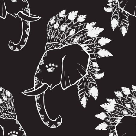indian chief headdress: Elephant head with american indian chief headdress pattern. Print for clothes, cards, picture banner for websites. Ethnic Indian ornaments.