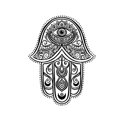 talisman: Ornament card with hamsa. Geometric circle element made in vector. Talisman ornamental hamsa, symbol Eye protection. Kaleidoscope,  medallion, yoga, india, arabic