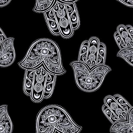 talismán: Tarjeta del ornamento con hamsa. La Hamsa es un amuleto de la mano talismán forma de palmera hecha en vector.Card caleidoscopio, medallón, el yoga, la india, árabe, Israel