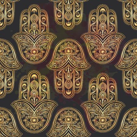 talismán: Modelo del ornamento con hamsa de oro. círculo elemento geométrico hecho en vector. hamsa ornamentales talismán, la protección del símbolo del ojo. Caleidoscopio, el yoga, la india, árabe Vectores