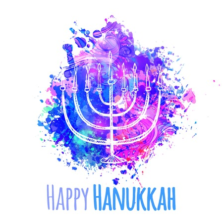 Happy Jewish holiday Hanukkah, greeting card. Vector illustration Illustration
