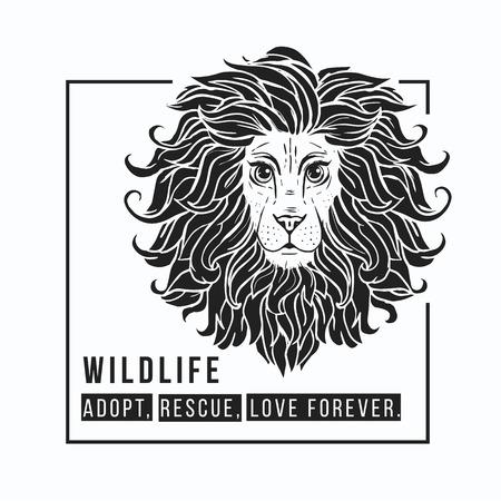 slogans: Lion vector illustration. Slogans animal protection. World Environment Day