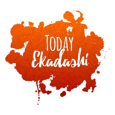 jainism: Happy Ekadashi. In Hinduism and Jainism days considered especially auspicious Ekadasi. Hindu festival celebration in India. Vector illustration background