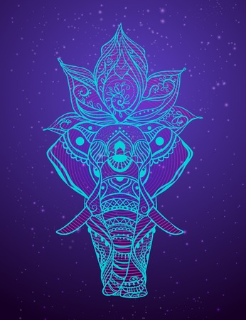 Card with elephant made in vector. Color illustration