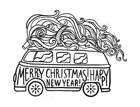 70's: Hippie style car with tree. Ornamental retro background, Hippy color vector illustration. Retro 1960s, 80s, 70s. Greeting card Christmas and New Year