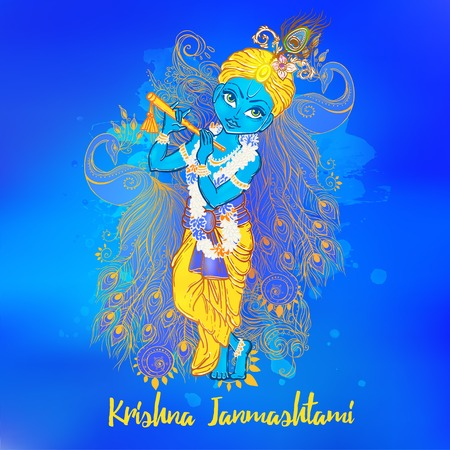 radha: Ornament card with Lord Shri Krishna birthday. Illustration in vector art. Happy Janmashtami Day Hindu. Vedic Feast India. Use for banners, card, wallpaper, print. Cartoon little baby krishna image Illustration