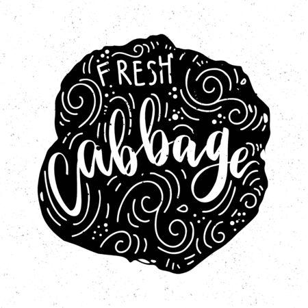 Natural food, Healthy life concept Cabbag. Farm, fresh, vegan, natural, product bio Vegan typographic print Hand draw Eco poster Stock Photo