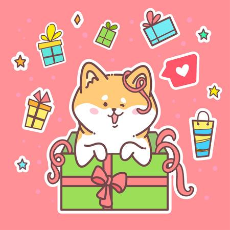 Carte de voeux Bonne année. Chien de hobbie de Vector illustration. Animal mignon. Utilisez pour des invitations, des copies de vêtements, des modèles et des bannières.