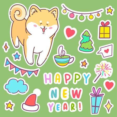 Carte de voeux Bonne année. Chien de hobbie de Vector illustration. Animal mignon. Autour de l'étoile.