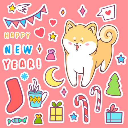 Grußkarte Frohes Neues Jahr. Hussy Hund Der Vektorabbildung. Nettes ...