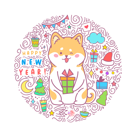 akita: Greeting set card Happy New Year. Vector illustration of a hussy dog. Cute animal will give joy and good mood. You can use for invitations, prints of clothes, patterns and banners.