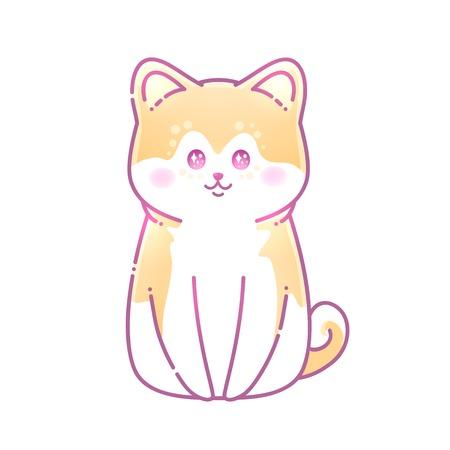 Carte de voeux Bonne année. Illustration vectorielle d'un chien bavard avec de grands yeux d'anime. Animal mignon. Style japonais. Vous pouvez utiliser pour des invitations, des impressions de vêtements.