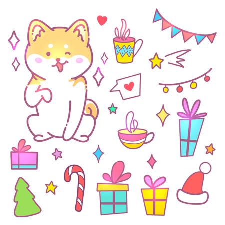 Carte de voeux bonne année. Illustration vectorielle d'un chien coquine. Un animal mignon donnera de la joie et de la bonne humeur. Vous pouvez utiliser pour les invitations, des impressions de vêtements.