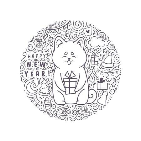 Carte de voeux bonne année. Chien d'illustration vectorielle. Animal mignon. Autour de l'étoile. Utilisez pour les invitations, les impressions de vêtements.