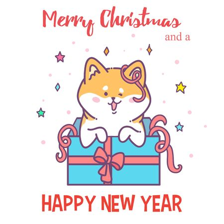 akita: Greeting card Happy New Year. Vector illustration hussy dog. Cute animal. Use for invitations, prints of clothes, patterns and banners. Set of stickers for New Year party with friends