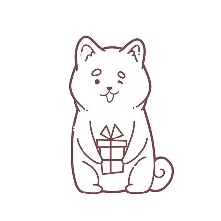 conception de cartes de voeux nouvel an avec chien de rudolph tenant un petit chien