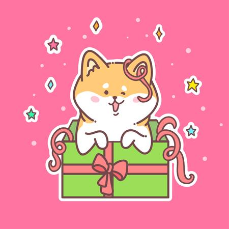 conception de cartes de voeux nouvel an avec chien de rudolph sur une boîte de cadeau sur fond rose