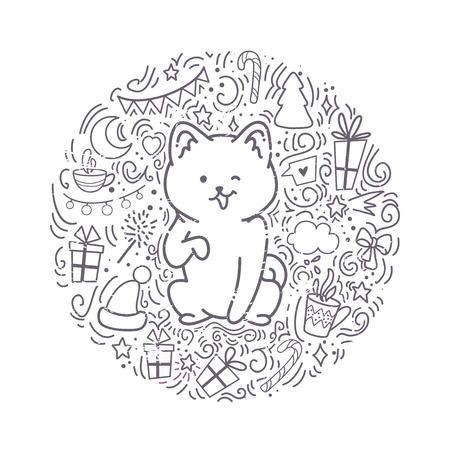 Carte de voeux set Bonne année. Illustration vectorielle d'un chien chouette. Un animal mignon donnera de la joie et de la bonne humeur. Vous pouvez utiliser pour des invitations, des impressions de vêtements, des modèles et des bannières.