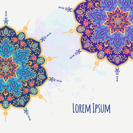 Islamic floral mandala decor in Victorian style. Vector illustration. Card for cafe, restaurant, shop, print. Border. India,Arabic, Dubai, turkish, Islam, pakistan ottoman motifs  Save the date and gr