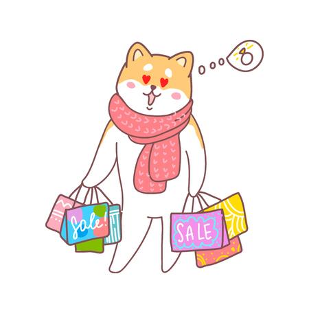 Carte de voeux Bonne année. Illustration vectorielle d'un chien chouette fait des achats. Un animal mignon donnera de la joie et de la bonne humeur. Vous pouvez utiliser pour des invitations, des impressions de vêtements, des modèles et des bannières.