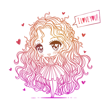 Cute vector illustration. Kawaii Anime girl. Big eyes. Use for postcards, print on clothes or other things. anner decorations. Happy valentines day