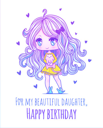 Cute vector illustration. Kawaii Anime girl. Big eyes. Use for postcards, print on clothes or other things. anner decorations. Happy birthday daughter