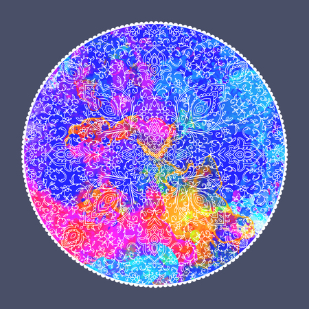 An Islamic or indian floral pattern decor in. Vector illustration. Card for cafe, restaurant, shop, print. Border. Invitation card Illustration