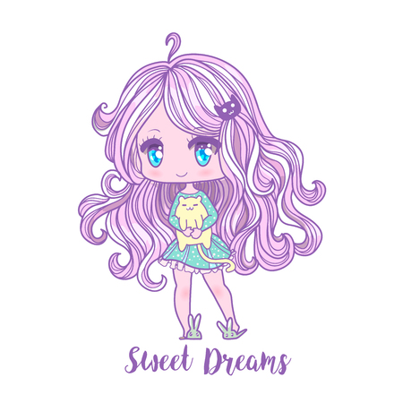 Cute vector illustration. Anime girl. Big eyes. Use for postcards, print on clothes or other things. anner decorations. Sweet dreams inscription Illustration