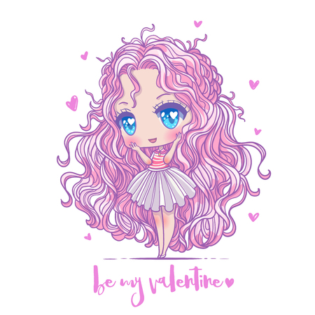 Cute vector illustration. Kawaii Anime girl. Big eyes. Use for postcards, print on clothes or other things. anner decorations. Happy valentine s day.