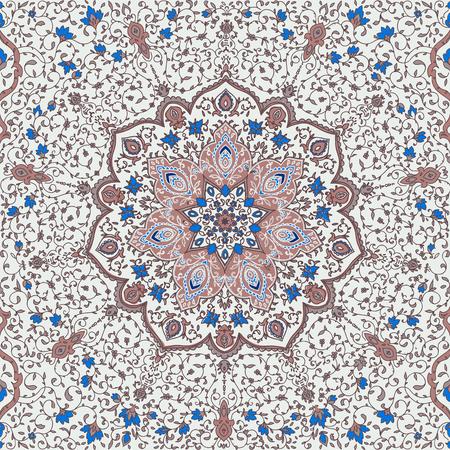 빅토리아 스타일에서 이슬람 또는 인도 꽃 패턴입니다. 카페, 쇼핑, 인쇄, 배너, 청첩장, 책 표지, 인증서에 대 한 카드에 대 한 장식. 날짜를 저장하십시오. 아랍 두바이 터키 이슬람교 스톡 콘텐츠 - 93154814