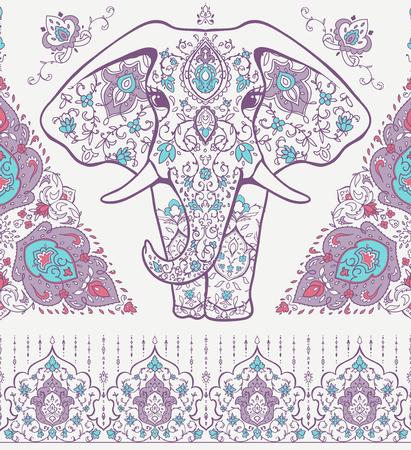 Geometric mandala pattern of an elephant vector illustration