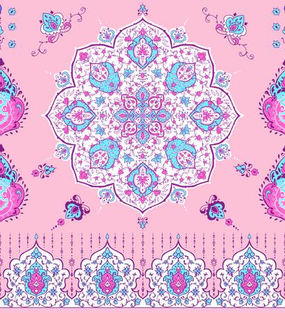 Arabic illustration pattern, invitation card. Vector illustration. Card for cafe, restaurant, shop print Border Illustration