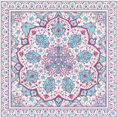 Islamic or indian floral pattern in Victorian style. Ornamental for Card for cafe, shop, print, banner, wedding invitation, book cover, certificate.