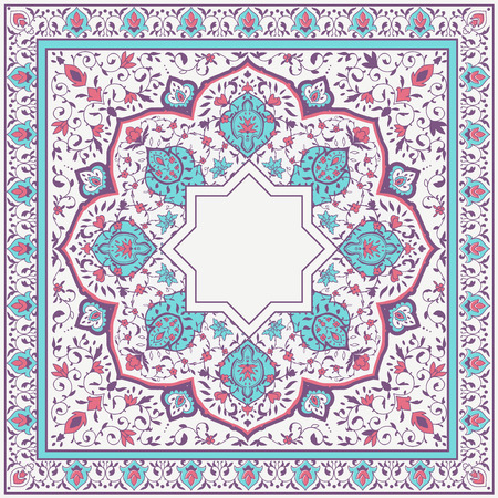 Arabic floral pattern in Victorian style. Ornamental for Card for cafe, restaurant, shop, print, banner, wedding invitation, book cover, certificate. Illustration